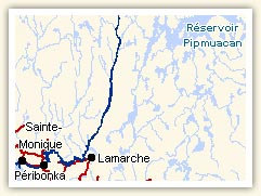 Map of the Peribonka River